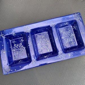 Blue snowflakes holiday tray